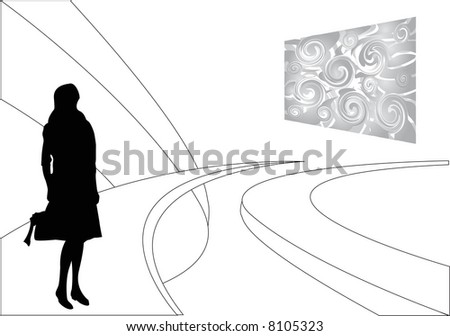 art gallery and female silhouette - stock photo