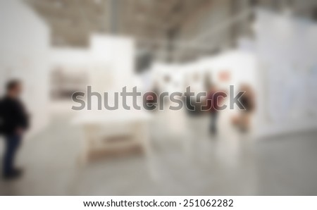 Art gallery generic background. Intentionally blurred editing post production. People, works and location not recognizable. - stock photo
