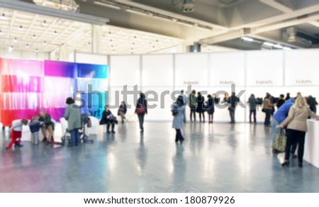 Art gallery, intentional blurred background post production