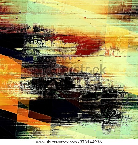 Art geometric vintage background with space for text and different color patterns: yellow (beige); brown; red (orange); cyan; black - stock photo