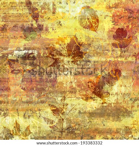art golden autumn leaves light background in yellow, gold, orange and brown colors - stock photo