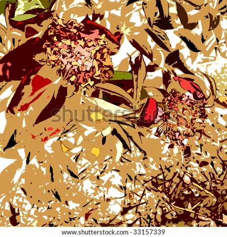 art graphic floral autumn background with old peonies, in beige, red and brown colors - stock photo