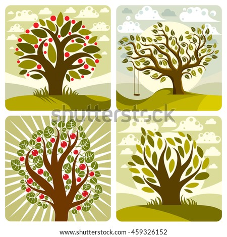 art green fruity trees with swing on beautiful cloudy spring landscape.  Setting sun with sunbeams view, season theme illustrations collection.