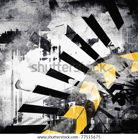 Art grunge background, black, gray, yellow color, abstract design - stock photo