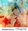 Art grunge background, blue and red color illustration - stock photo