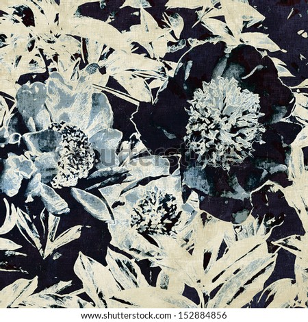art grunge floral vintage monochrome background with white, blue and black peonies - stock photo