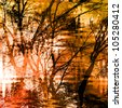 art grunge forest monochrome background, dark brown and black silhouette of tree on white, gold, orange and red color blurred blots - stock photo
