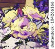 art grunge graphic floral vintage background in violet, lilac, white, black and yellow colors - stock photo
