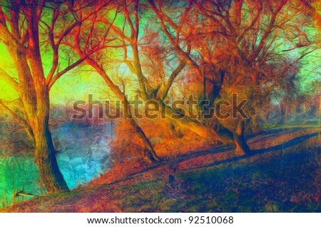 Art grunge landscape showing trees beside the river on sunny autumn day. - stock photo