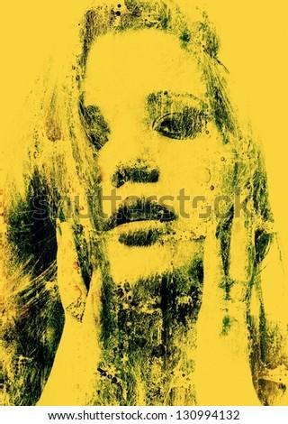 Art grunge portrait of the beautiful girl - stock photo