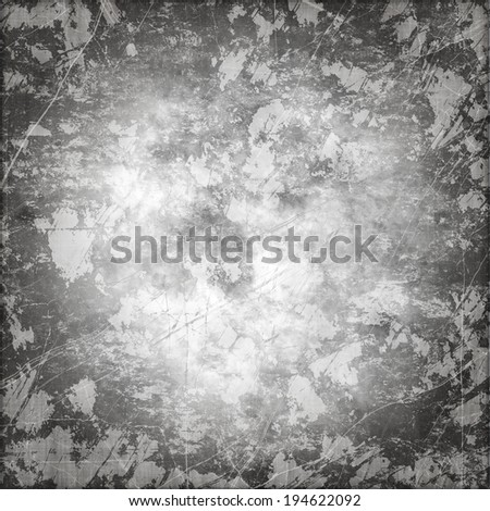 Art grunge vintage paper textured stained background with inkblots and stripes in shades of gray color - stock photo