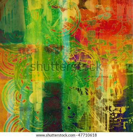 art grunge vintage texture watercolor background in yellow, orange, green and red colors