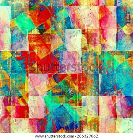 Art grunge vintage textured background. With different color patterns: yellow (beige); blue; green; red (orange); pink - stock photo