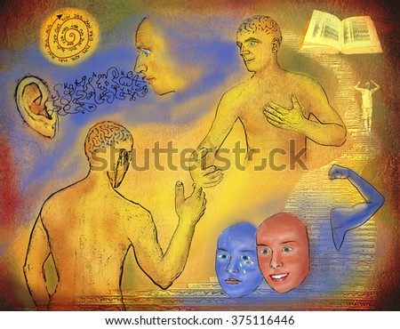 art illustration - Teaching and learning education concept with human bodies together in partnership. Learning in dialog and strengthen up with effort and success. Grunge old texture. - stock photo