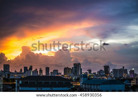 art image of city view on oil painting style  - stock photo