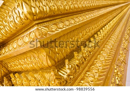 Art in the Golden Temple. East of Thailand.