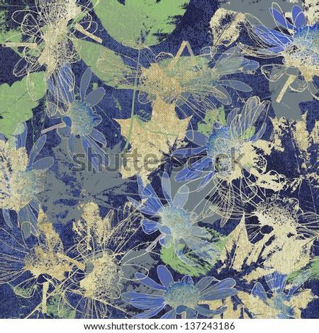 art leaves autumn background, card - stock photo