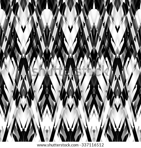 art monochrome ornamental ethnic styled horizontal seamless pattern with symmetrical zigzag; blurred watercolor background in black and white colors.  - stock photo