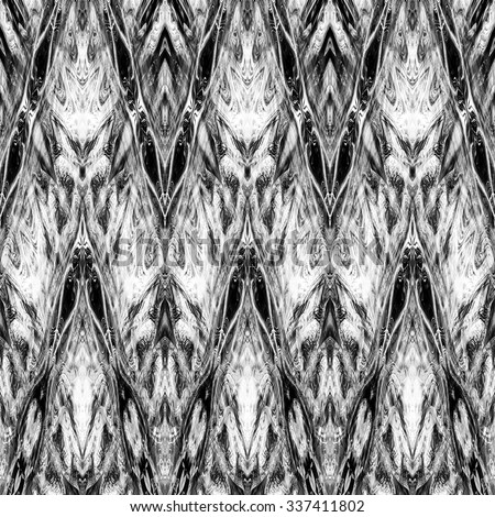 art monochrome ornamental ethnic styled horizontal seamless pattern with symmetrical zigzag; blurred watercolor background in black and white colors. Pat 14 - stock photo