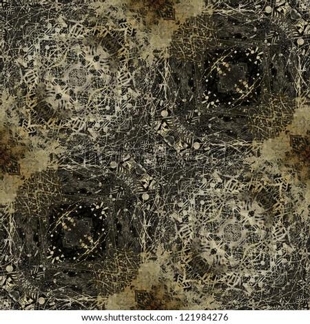 art monochrome ornamental vintage pattern in dark grey, beige and brown colors - stock photo