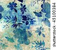 art monochrome stylized floral blue pattern, grunge paper textured background  - stock photo