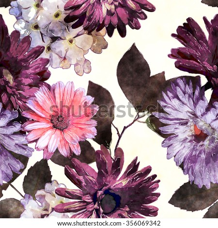 art monochrome watercolor vintage floral seamless pattern with purple, pink, violet, white and brown asters, phlox and gerbera isolated on white background