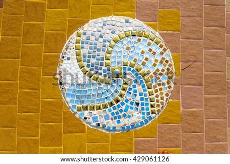 Art mosaic glass on the wall, glass mosaic. seamless mosaic. mosaic background. Seamless background. seamless tiles. glass mosaic. colorful mosaic. texture mosaic. seamless stained glass. mosaic glass - stock photo