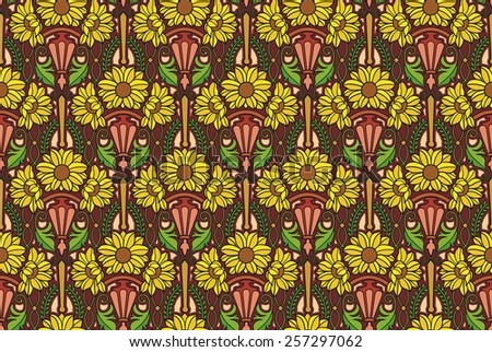 art nouveau flower pattern in earth tones - stock photo