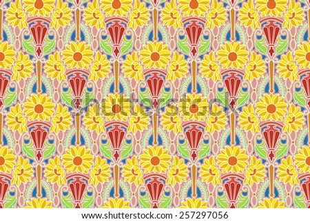 art nouveau flower pattern in pastels, with yellow - stock photo
