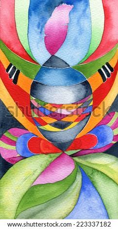 Art nouveau shaman, abstract art nouveau style original watercolor painting.  - stock photo