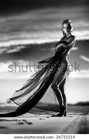 Art nude on beach with sheer material - stock photo