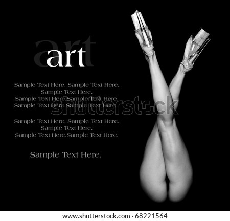 Art of a Woman's Legs with Text Space to the Left - stock photo