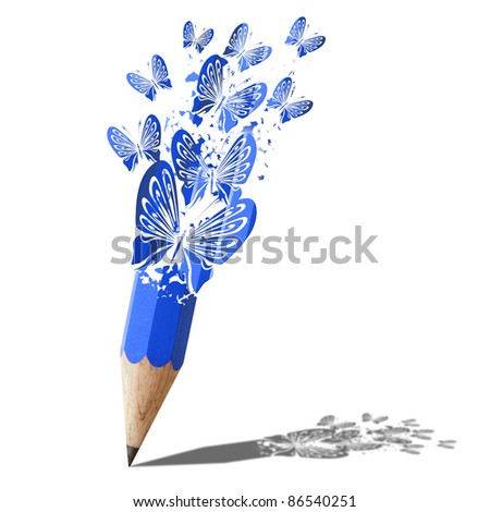 art of butterfly blue pencil isolated on white - stock photo