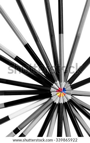 Art of color pencil , colorful color pencil lead contras black and white pencil - stock photo