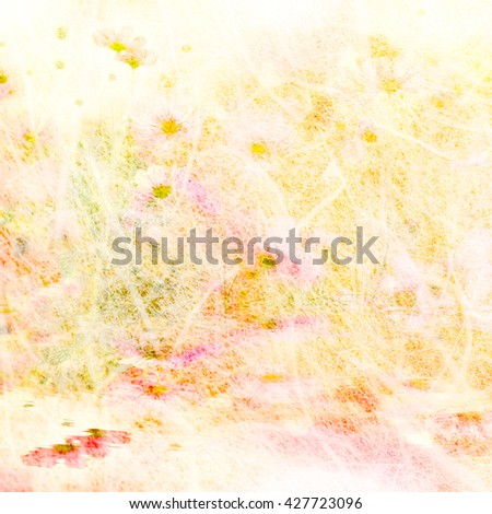 Art of cosmos flowers in mulberry paper texture pastel color style for background soft focus. - stock photo