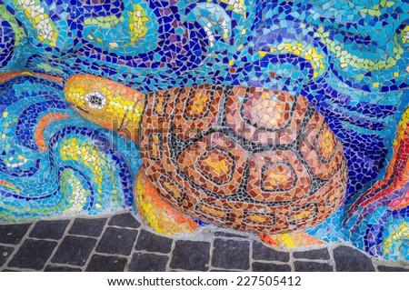 Art of glazed tile on sanctuary's wall in Ban Rai temple, Korat, Thailand - stock photo