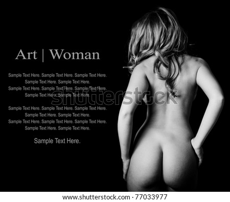 Art of Nude Woman with Text Space to the Left - stock photo