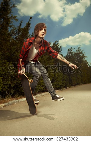 Art of skateboarding - stock photo