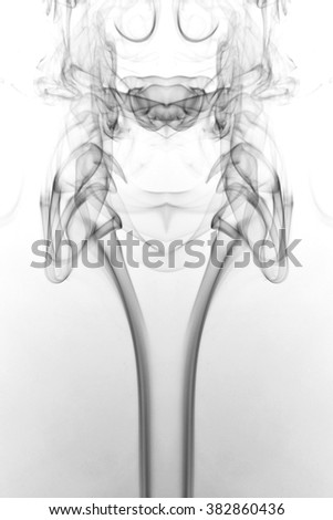 Art of Smoke on white background. black and white , B&W