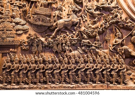 Art of wood carving details threads is character mythology. Striped Thailand style