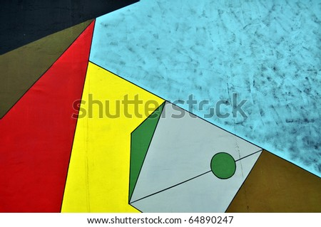 Art on a segment of the Berlin Wall, The East Side Gallery, Berlin, Germany - stock photo