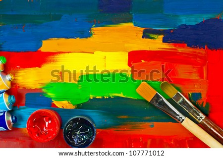 art paints, palette, brushes - stock photo