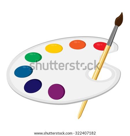 Art palette, paint palette, art supplies, color palette, palette raster - stock photo
