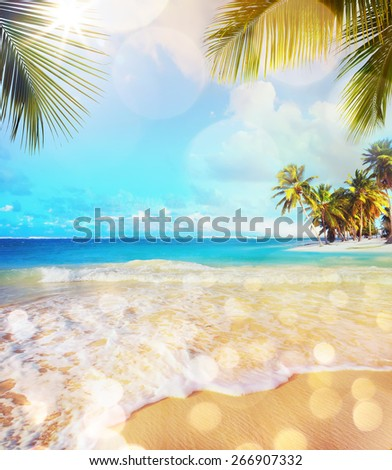 Art Paradise nature, summer sea tropical beach background - stock photo