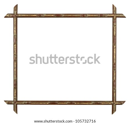 art picture frame bamboo golden - stock photo
