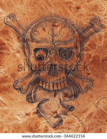 Art pirate skull .Hand Drawing on old paper texture. - stock photo