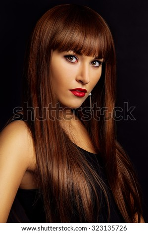 Art portrait of a girl in studio close-up - stock photo