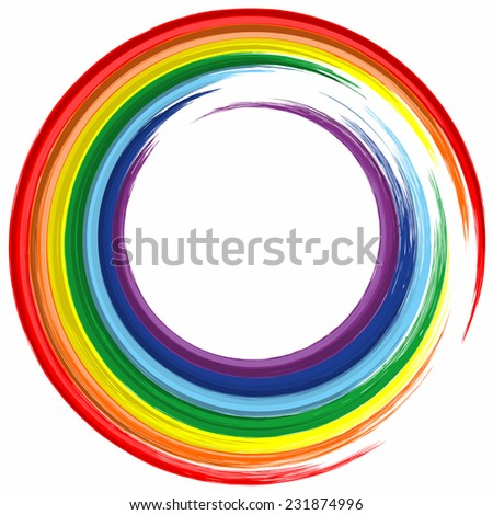 Art rainbow color frame abstract splash paint background - stock photo