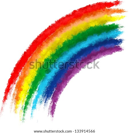 Art rainbow colors brush stroke paint background - stock photo