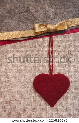 Art retro background with fabric Hearts for greeting card or design